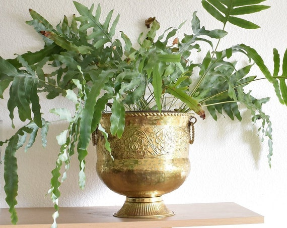 hollywood regency hammered solid brass pot planter on a pedestal | floral etched flower container