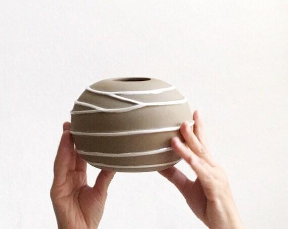modern bisque brown stoneware pottery flower vase   orb vase