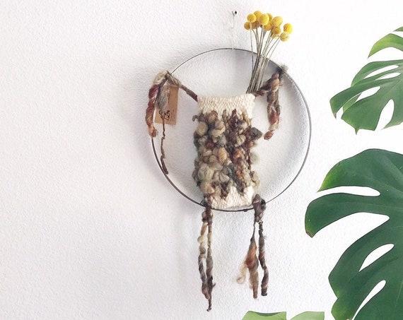 vintage handmade macrame fiber art wall hanging plant holder