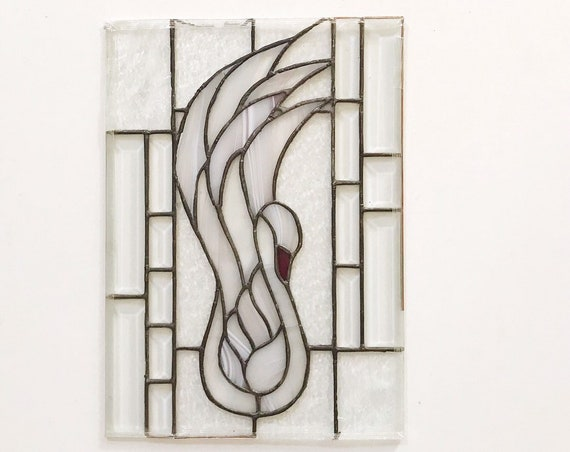 swan bird wall stained glass panel / abstract art
