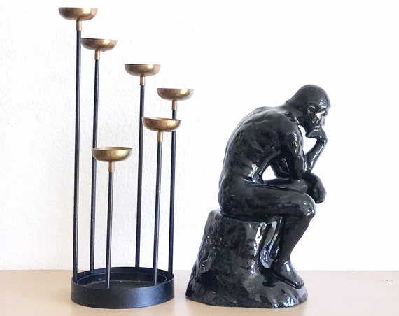 large black ceramic thinker thinking man sculpture figurine / office bookend
