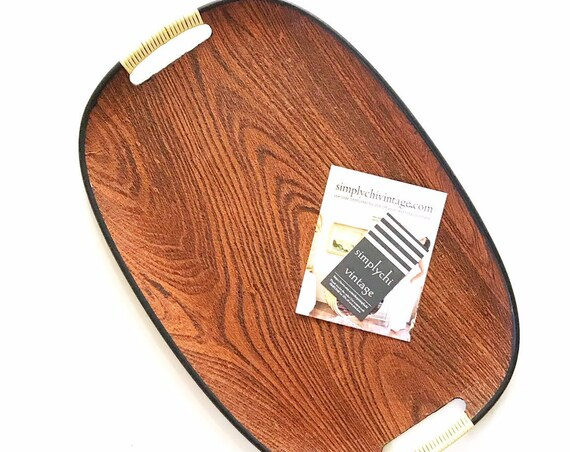 mid century modern faux teak wood serving tray with handles | catch all bowl | mcm breakfast tray