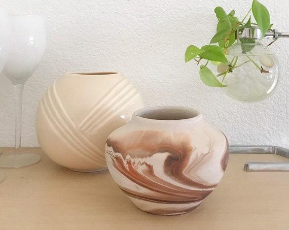 orange brown nemadji pottery vase / small clay pot