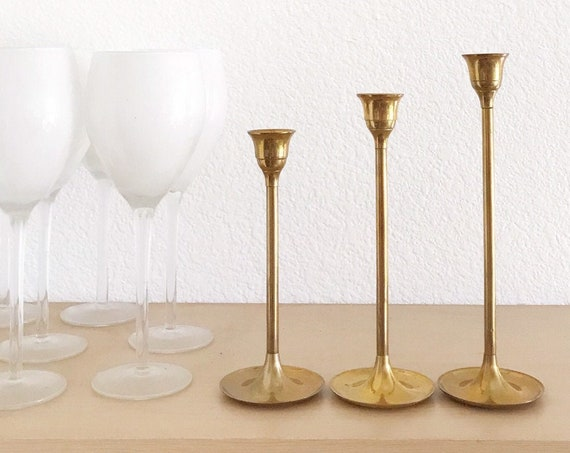 hollywood regency collection of solid brass tulip candle holder votives | set of 3