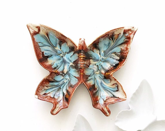 vintage blue brown marble ceramic butterfly dish / cigarette ashtray / trinket plate