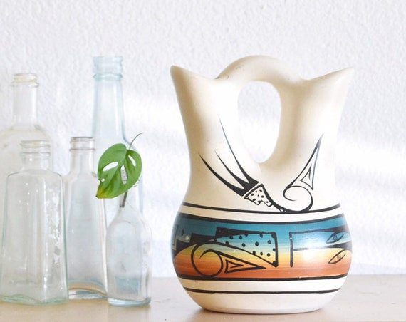"8"" hand painted navajo mesa verde pottery etched ceramic wedding vase / native american double water pitcher"