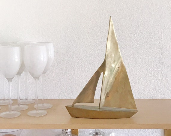 large mid century modern solid brass sailboat sculpture / beach house home decor