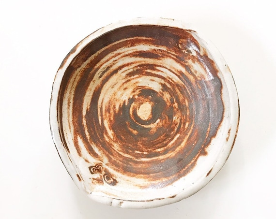 hand thrown beige brown speckled swirl stoneware pottery bowl / wall hanging dish plate