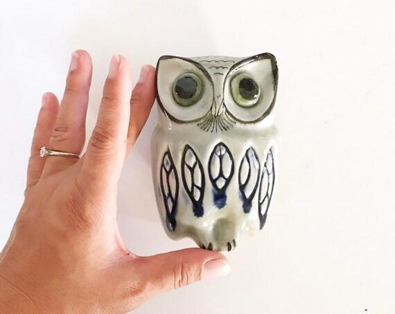 ceramic hand painted mexican owl bird figurine