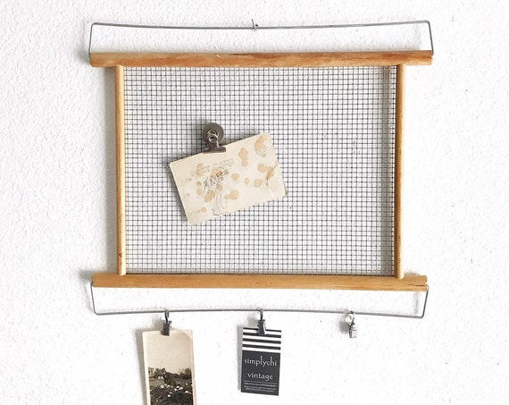 repurpose wall hanging metal magnetic message board with clips | letter board
