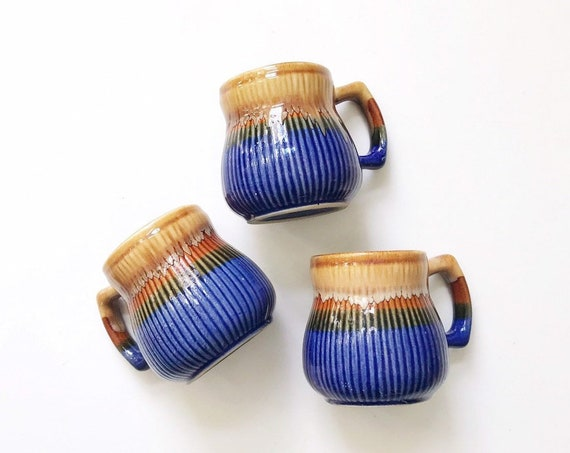 1970s retro striped blue brown drip glaze coffee mugs | tumbler set of 3