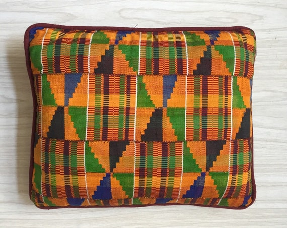 retro kilim orange decorative yellow tribal african kente throw pillow / patterned green blue sofa cushion pillow