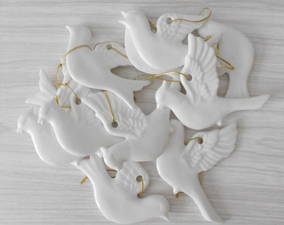 vintage solid white ceramic bird dove figurine christmas hanging ornaments