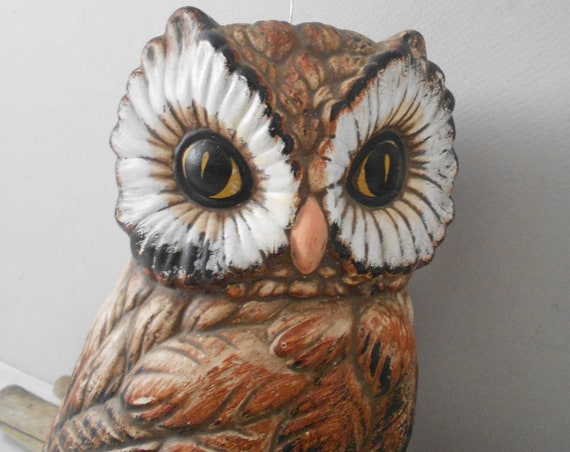 hanging large ceramic owl on a branch figurine sculpture / brown / baby nursery decor