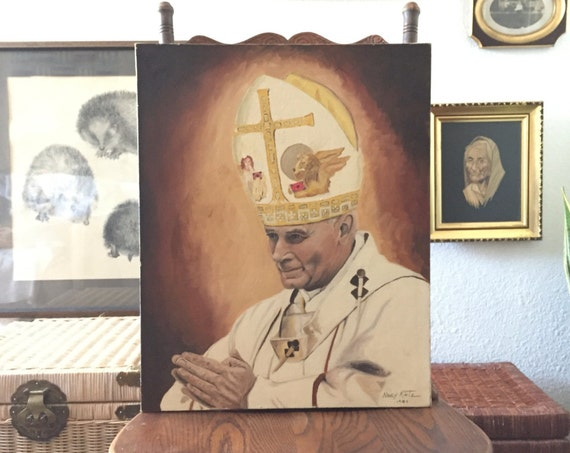 original vintage painting of Pope Saint John Paul II / religious / catholic