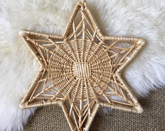 woven wicker wall hanging star basket / tray