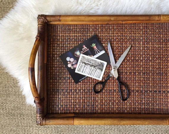large woven wicker bamboo wood serving tray with handles