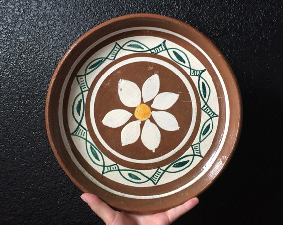 hand painted terra cotta flower plate / dish bowl / tray