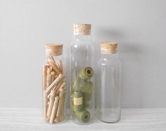tall cork lid glass apothecary jar / storage terrarium / 1 jar