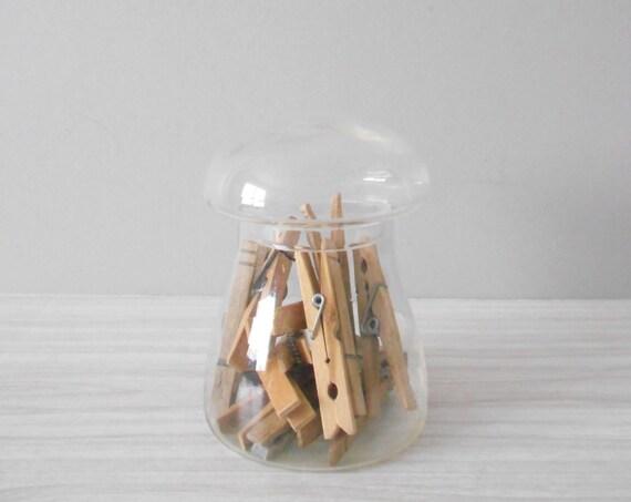 "6"" vintage mushroom clear glass apothecary terrarium jar / storage display cookie container"