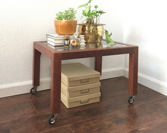 vintage wooden glass rolling table / side table / coffee table