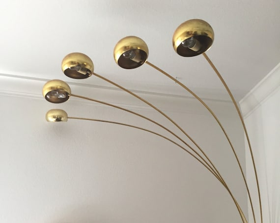vintage mid century modern brass arc orb floor lamp / spider pod lamp / light settings