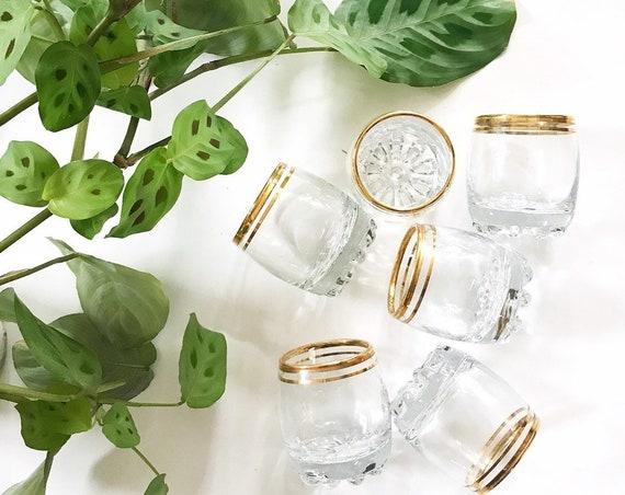 mid century modern gold rim cocktail shot glasses / set of 6 anchor hocking circleware