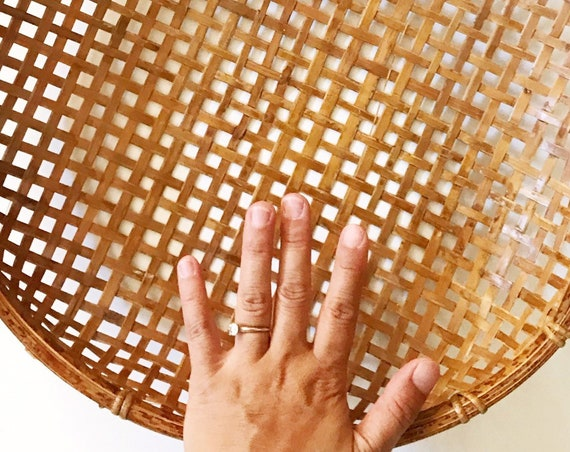 asian shallow winnowing woven bamboo rattan rice sifting basket | decorative storage bowl