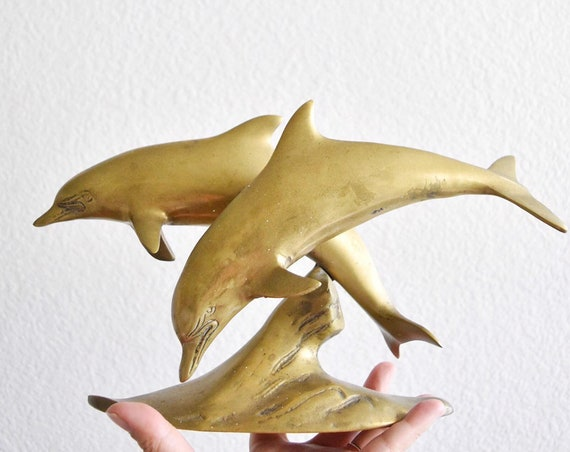 mid century modern solid brass dolphin figurine / paperweight / nautical
