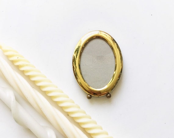 small wall hanging standing solid brass oval picture frame