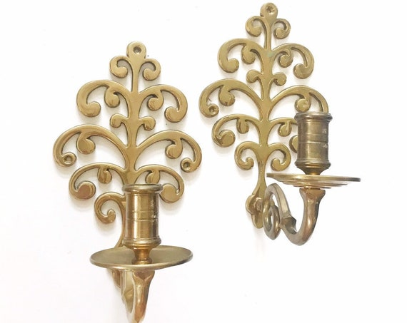 set of ornate heavy floral brass wall hanging candelabra candlestick holders