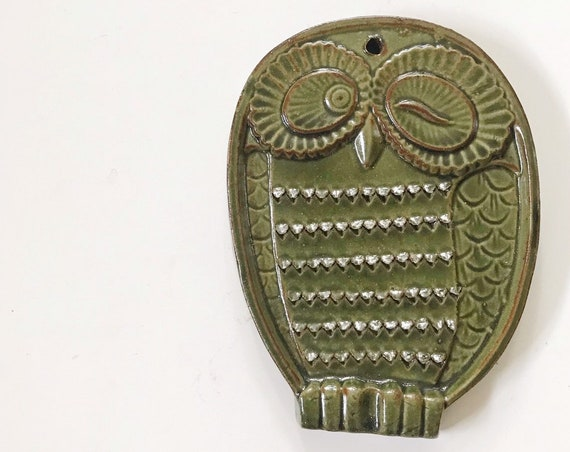 hand thrown stoneware barn owl wall hanging ornament art | owl figurine valentine's day gift