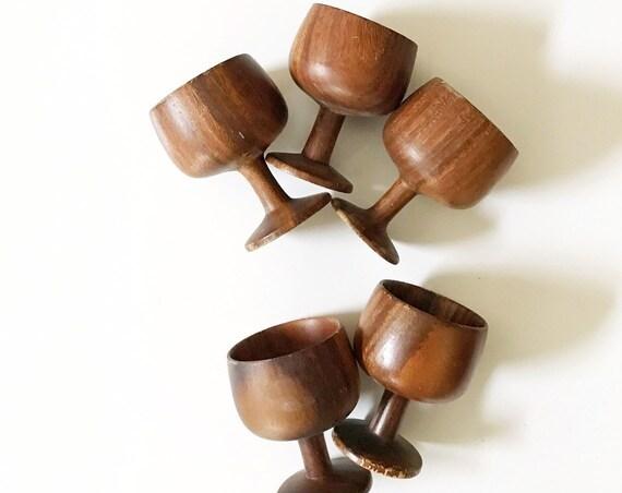 carved danish teak wood goblet drinking cup set