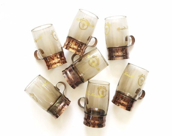mid century modern smokey brown glass copper tea cup mugs with handles | set of 7