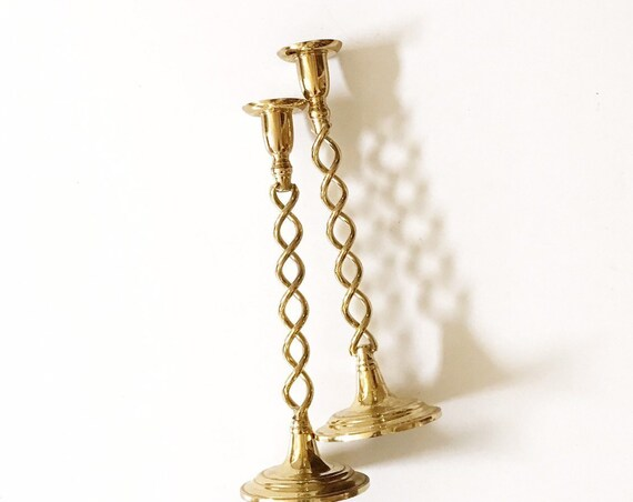 tall pair of brass twisty candlestick holders | twisted candleholders set of 2