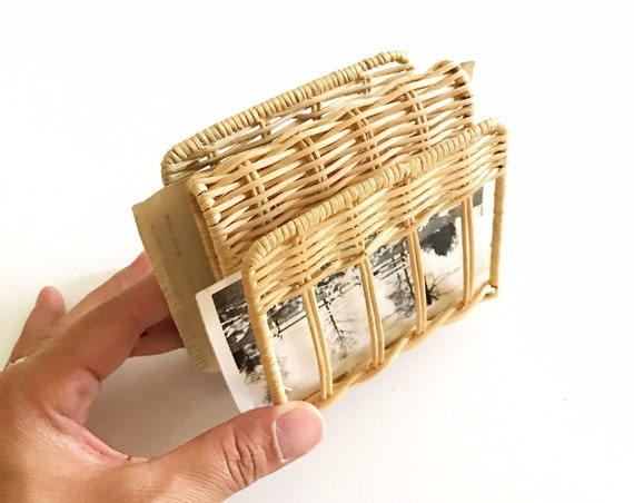 small vintage woven wicker office file storage | note holder divider | mail sorter
