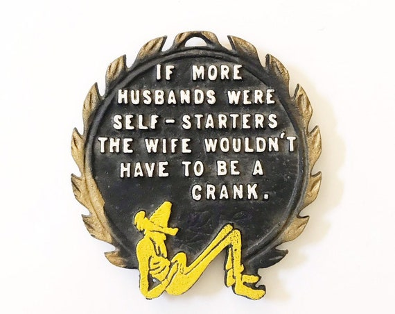 funny metal hot plate footed trivet | vintage humor wall art | gift for husband