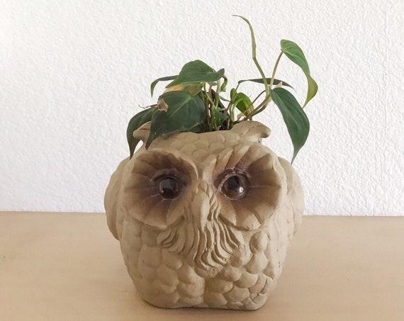 whimsical ceramic owl bird figurine planter | flower pot