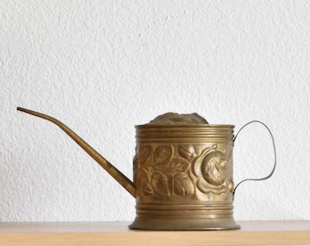 mid century decorative floral solid brass watering can vase with spout