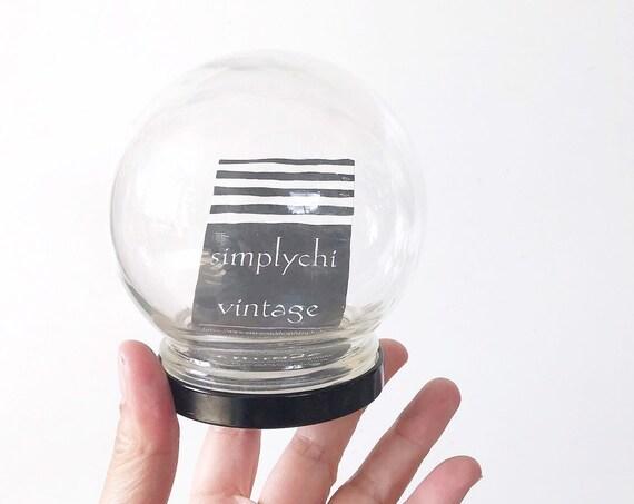 small glass ball globe jar with black base terrarium / indoor garden specimen cloche