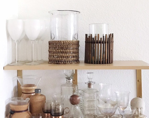 boho wooden woven bamboo rattan glass flower vase | propagation bud vase
