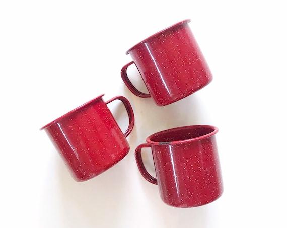 vintage speckled bright red enamel drinking cups / coffee mug set of 3