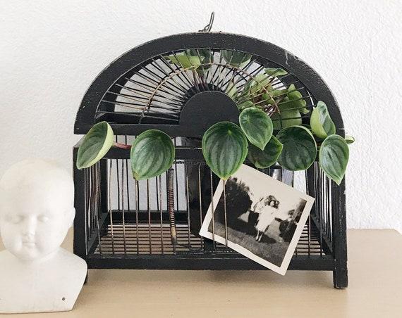 vintage black hanging old wooden wire metal birdcage / asian birdhouse