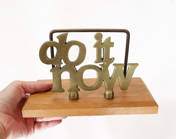 large vintage letter mail holder / do it now / office paperweight / desk accessory / gold silver / hollywood regency / funny