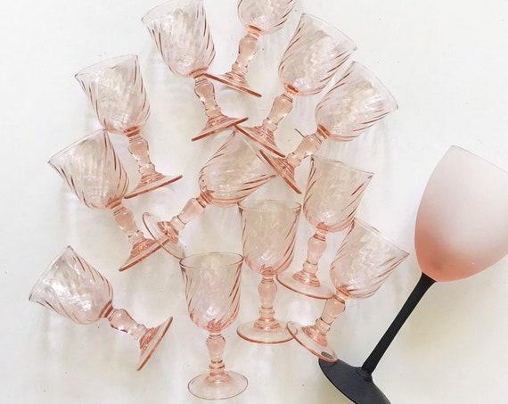 pink french rosaline swirl aperitif glasses / sherry liqueur arcoroc luminarc set of 6 shot glasses