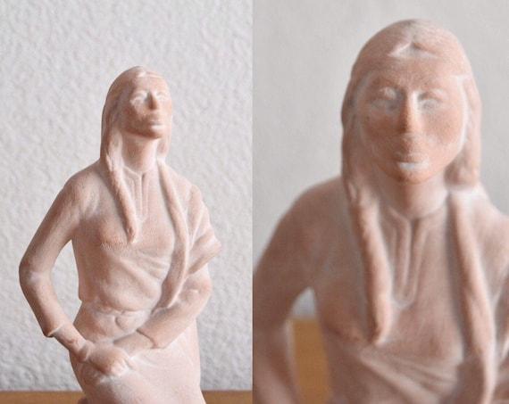 native american indian ceramic girl figurine statue   woman lady bust sculpture   modern tribal home decor