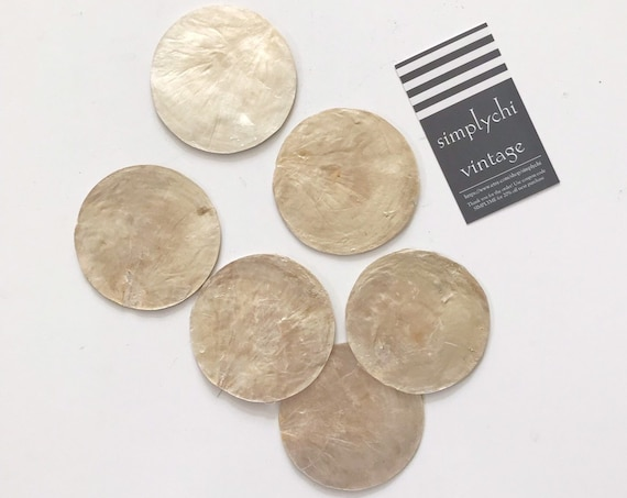 set of 6 capiz sea shell drink coasters / mother of pearl trivets