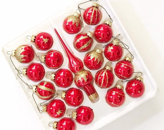 vintage miniature red gold christmas glass ball ornaments / tree topper / set of 21