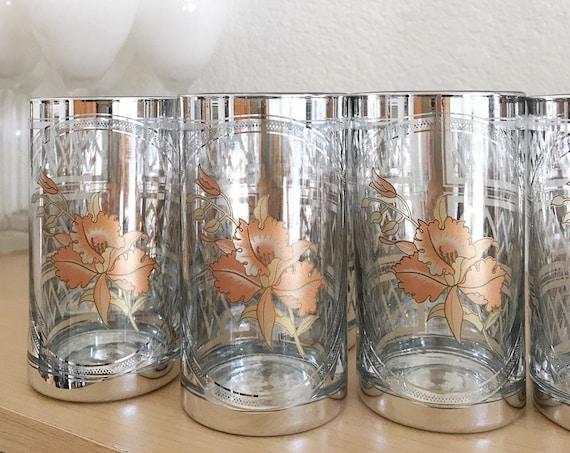 hollywood regency metallic silver glass tumbler set of 6   floral zig zag pattern