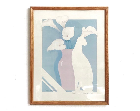 1980s framed minimalist cat and flowers poster paper print | gift cat lover